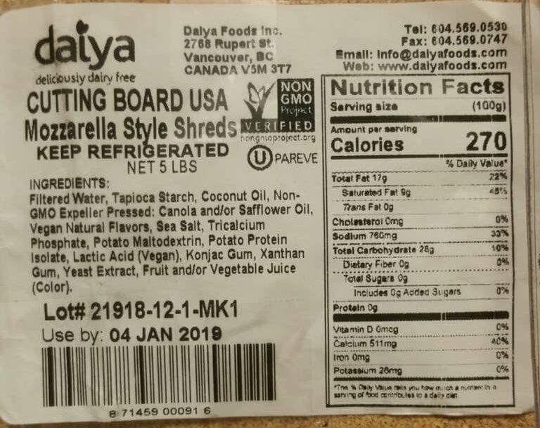daiya cheese ingredients